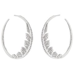 Stephen Webster Magnipheasant White Gold and White Diamond Pavé Hoop Earrings