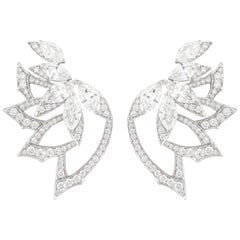 Stephen Webster Magnipheasant White Gold and White Diamond Plumage Earstuds
