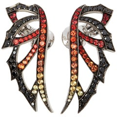 Stephen Webster Magnipheasant White Gold Mixed Sapphire and Diamond Earrings
