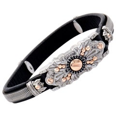 Stephen Webster No Regrets Gold Tone Silver and Black Sapphire Leather Bracelet