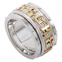 Stephen Webster No Regrets Silver and Yellow Gold Plated Rotating Mens Band Ring