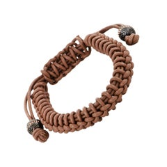 Stephen Webster No Regrets Silver Tipped Woven Leather Brown Bracelet