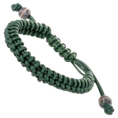 Stephen Webster No Regrets Unisex Green Leather and Gold Tone Silver Bracelet