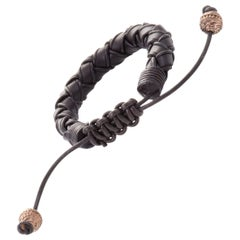 Stephen Webster No Regrets Woven Leather and Rose Gold Tone Silver Bracelet