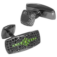 Stephen Webster Rayman Black Sapphire '1.33 Carat' and Tsavorite Pavé Cufflinks