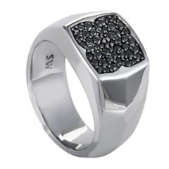 Stephen Webster Rayman Men's Silver and Black Sapphire Pave Signet Ring