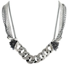 Stephen Webster Rayman Silver and Black Rhodium Black Sapphire Pave Necklace