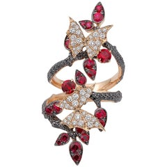 Stephen Webster Ruby and Black Diamond Forest 18 Carat Rose Gold Ring