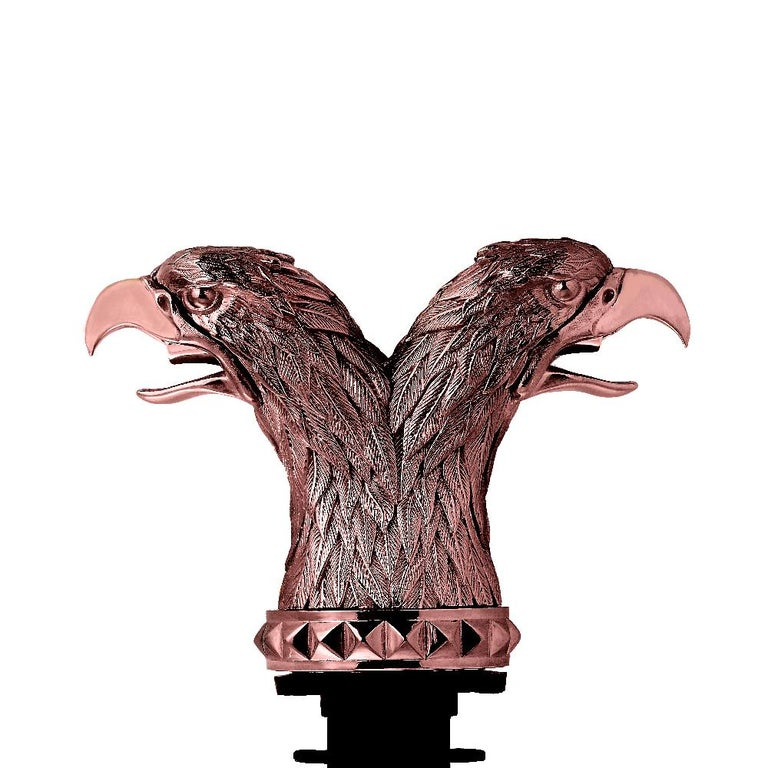 'Russian Roulette' is a set of intricate and expressive bar accessories inspired by the cupolas of Moscow's Saint Basil's Cathedral.  Double Eagle Head Pourer - Rose gold plated silver double eagle head pourer with double mouth spout.  Spanning four