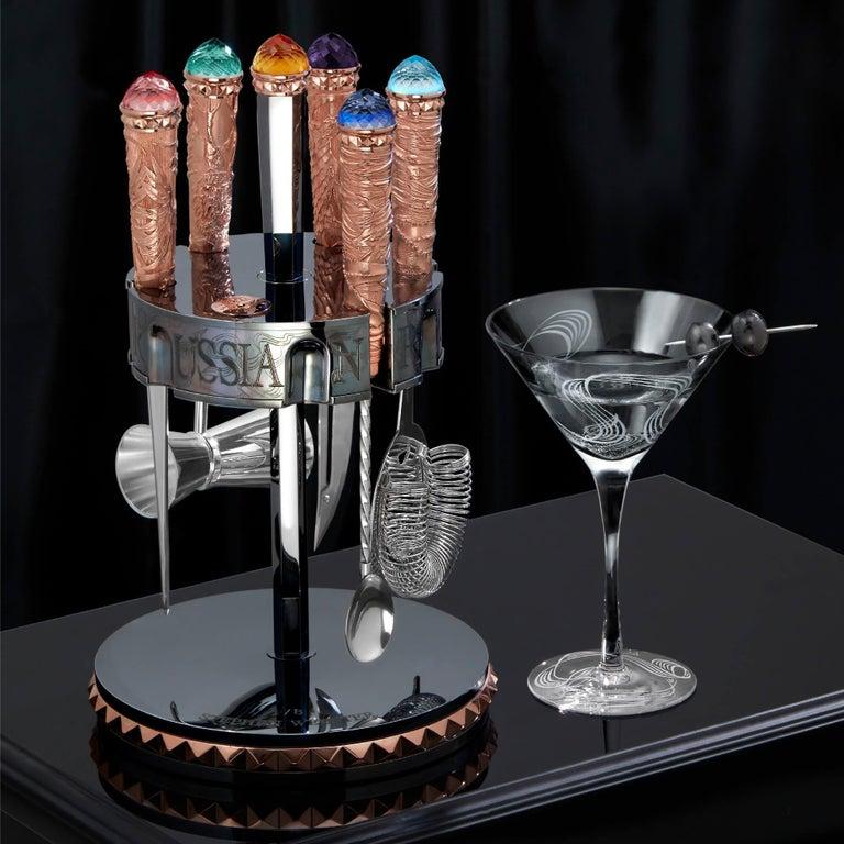 British Stephen Webster Russian Roulette Rose Gold Vodka Bar Tool Kit For Sale