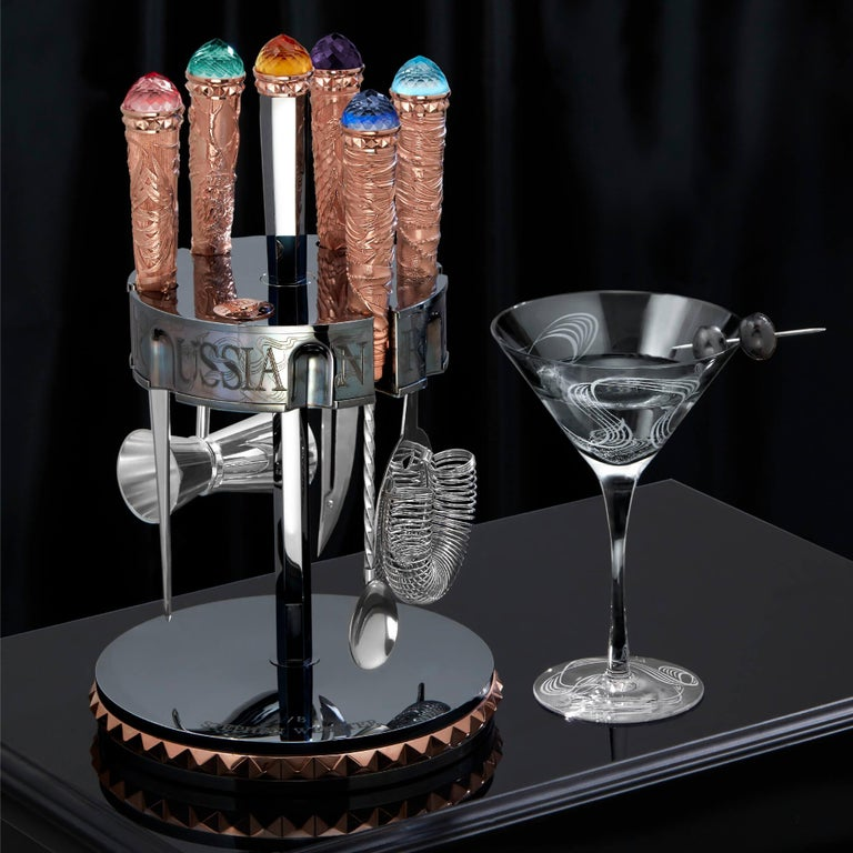 Contemporary Stephen Webster Russian Roulette Rose Gold Vodka Bar Tool Kit For Sale