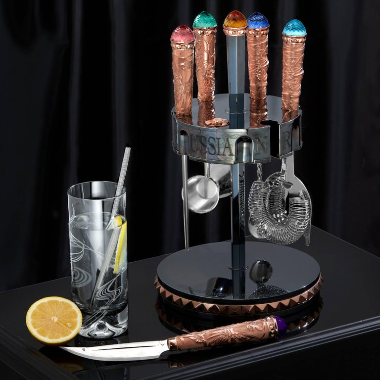 Stephen Webster Russian Roulette Rose Gold Vodka Bar Tool Kit In New Condition For Sale In London, GB