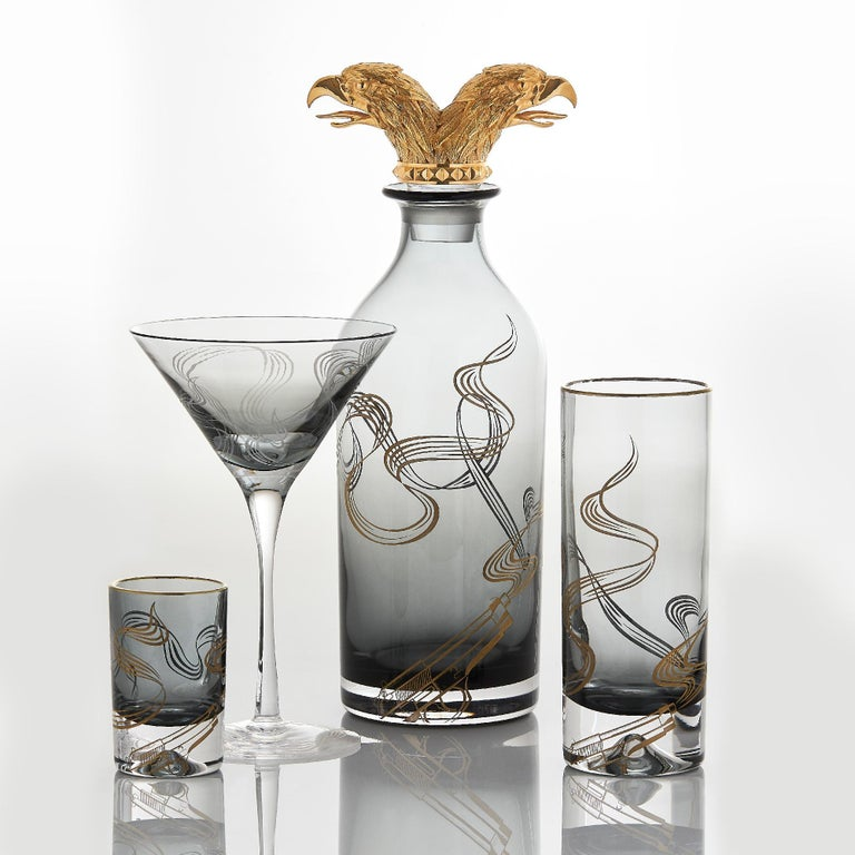 Etched Stephen Webster Russian Roulette Smoking Gun Martini Glass For Sale