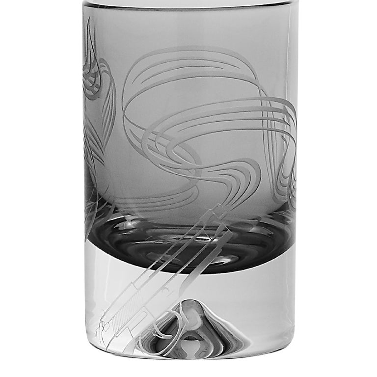 'Russian Roulette' is a set of intricate and expressive bar accessories inspired by the cupolas of Moscow's Saint Basil's Cathedral.  A range of crystal glassware etched and gold engraved with Webster's smoking gun motif, handcrafted in the UK. Each