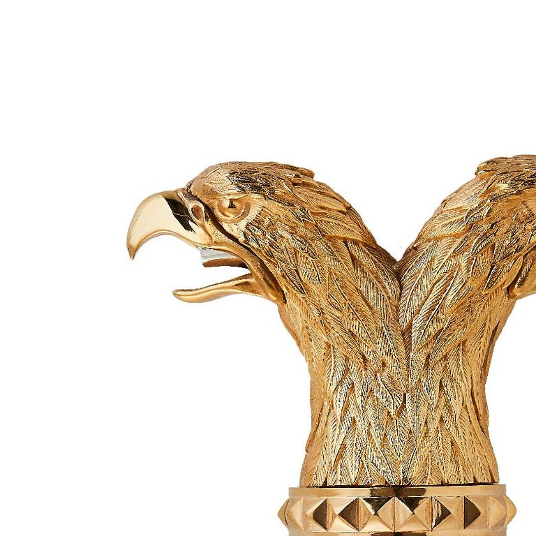 Contemporary Stephen Webster Russian Roulette Yellow Gold-Plated Double Eagle Head Pourer For Sale