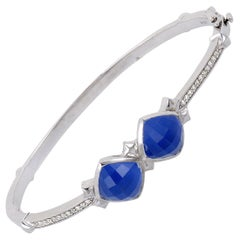 Stephen Webster Silver Diamond Agate and Quartz Bangle Bracelet
