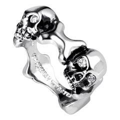 Stephen Webster Skull and Bones Sterling Silver Diamond Ring 3005570
