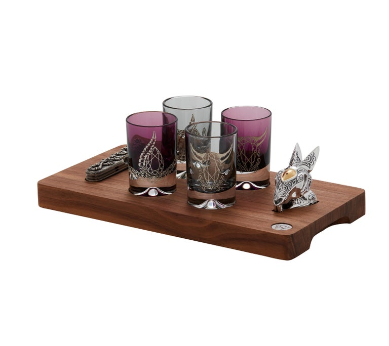 Stephen Webster Smoke and Amethyst Colored Tequila Glass Set, Set of 4 Glasses In New Condition For Sale In London, GB