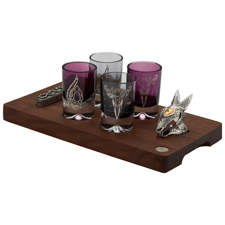 Stephen Webster Smoke and Amethyst Colored Tequila Glass Set, Set of 4 Glasses For Sale