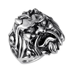 Stephen Webster Sterling Silver and Diamond Japanese Warrior Mask Ring