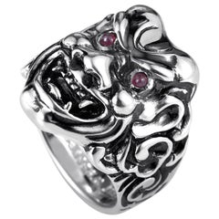 Stephen Webster Sterling Silver and Ruby Japanese Warrior Mask Ring