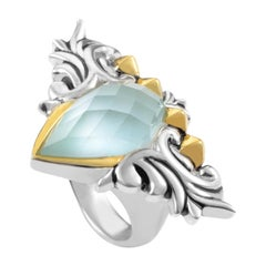 Stephen Webster Superstud Baroque Gold Tone Silver Cat's Eye and Quartz Ring