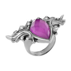 Stephen Webster Superstud Baroque Sterling Silver and Sugilite and Quartz Ring