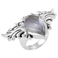 Stephen Webster Superstud Baroque Sterling Silver Cat's Eye and Quartz Ring