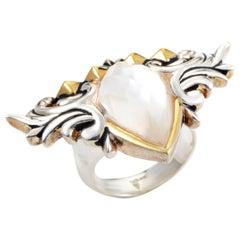 Stephen Webster Superstud Baroque Sterling Silver Mother of Pearl & Quartz Ring