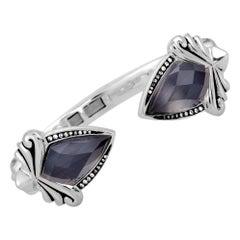 Stephen Webster Superstud Silver Diamond and Gray Crystal Haze Bangle Bracelet