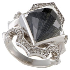 Stephen Webster Superstud Silver Diamond Cat's Eye and Quartz Ring
