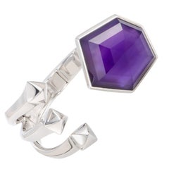 Stephen Webster Superstud Silver Large Hexagon Amethyst Open Bangle Bracelet