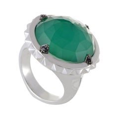 Stephen Webster Superstud Silver Sapphire Chrysoprase and Quartz Ring