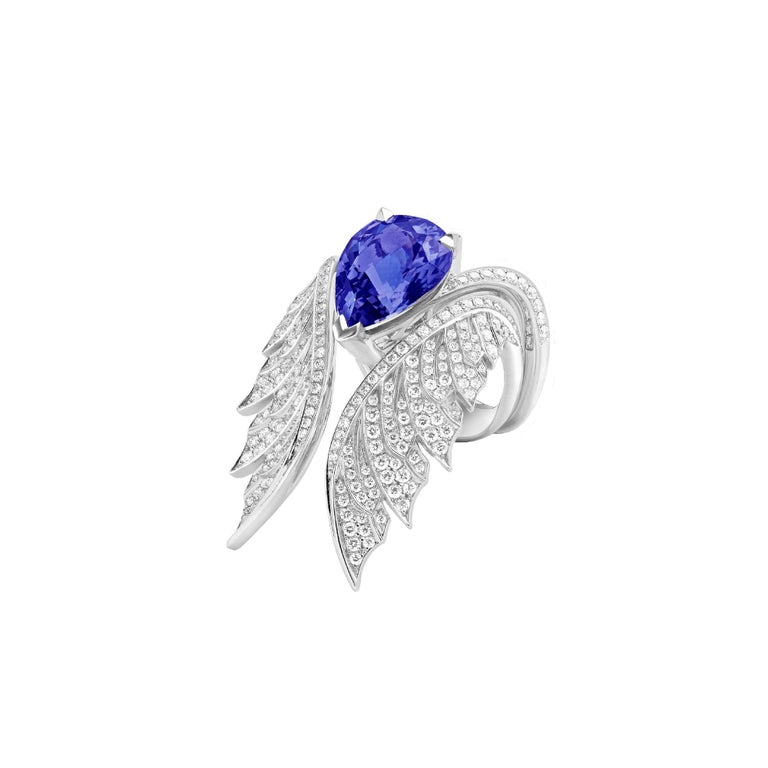 18ct white gold cocktail ring with white diamond pavé (0.18ct) and a centre pear-shaped tanzanite (4.93ct). The Pavé Cocktail Ring can be worn as an inner to the Magnipheasant Open Feather Ring, available in white gold.  Please enquire for available