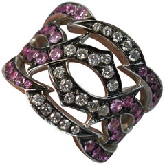 Stephen Webster Tattoo 18 Carat White Gold Pink Sapphire Diamond Cluster Ring