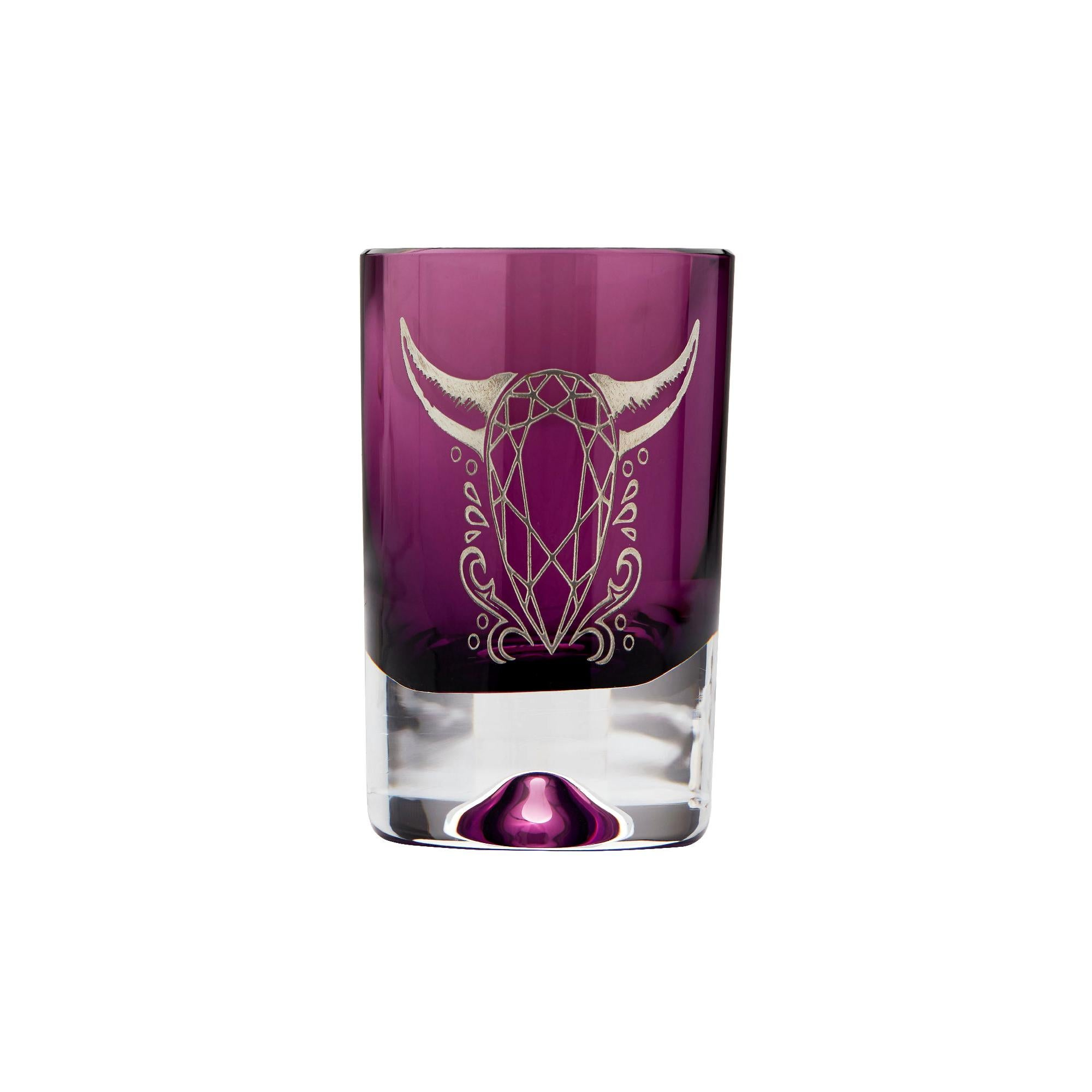 Stephen Webster Tequila Lore Cow Engraved Detail Amethyst Shot Glass - Set of 2