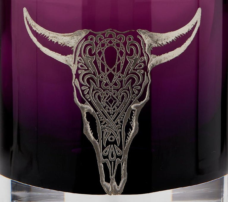 Contemporary Stephen Webster Tequila Lore Cow Engraved Detail Amethyst Single Tumbler For Sale