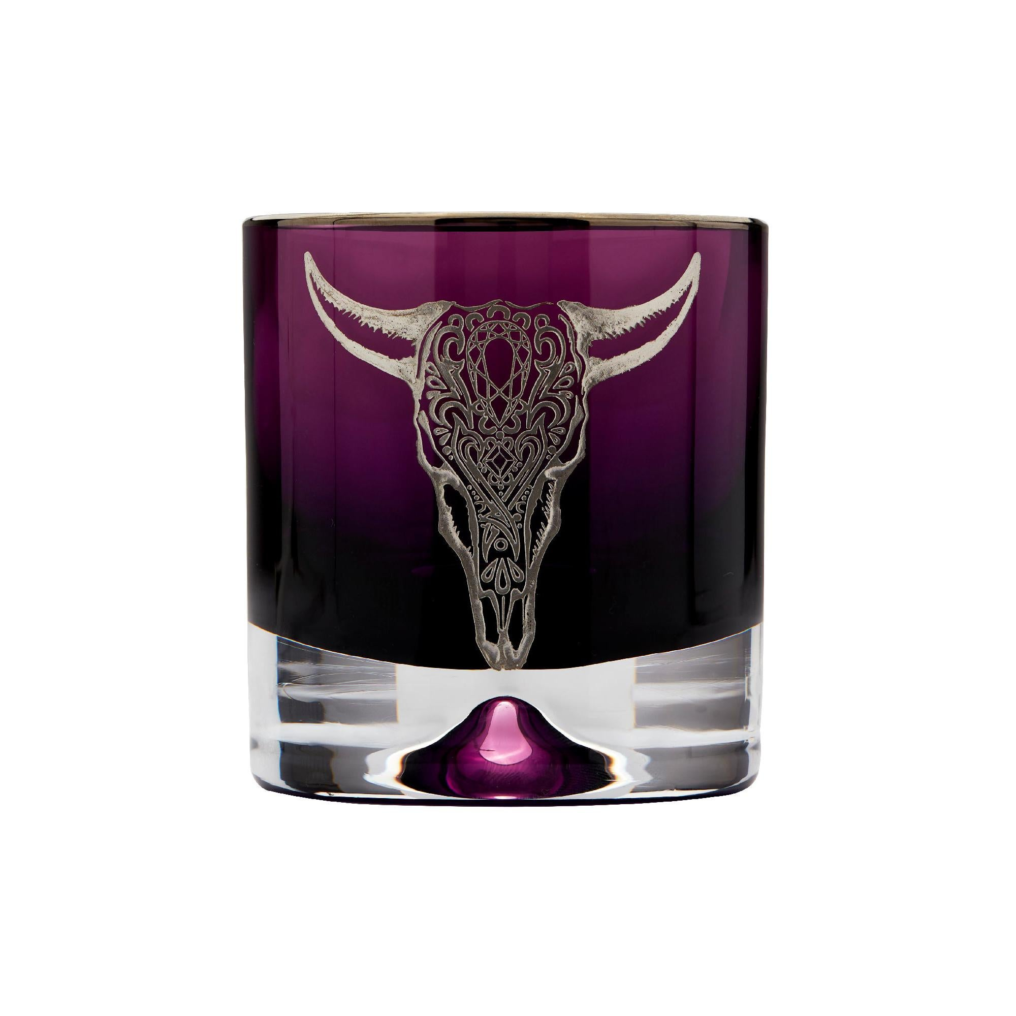 Stephen Webster Tequila Lore Cow Engraved Detail Amethyst Tumbler - Set of 2