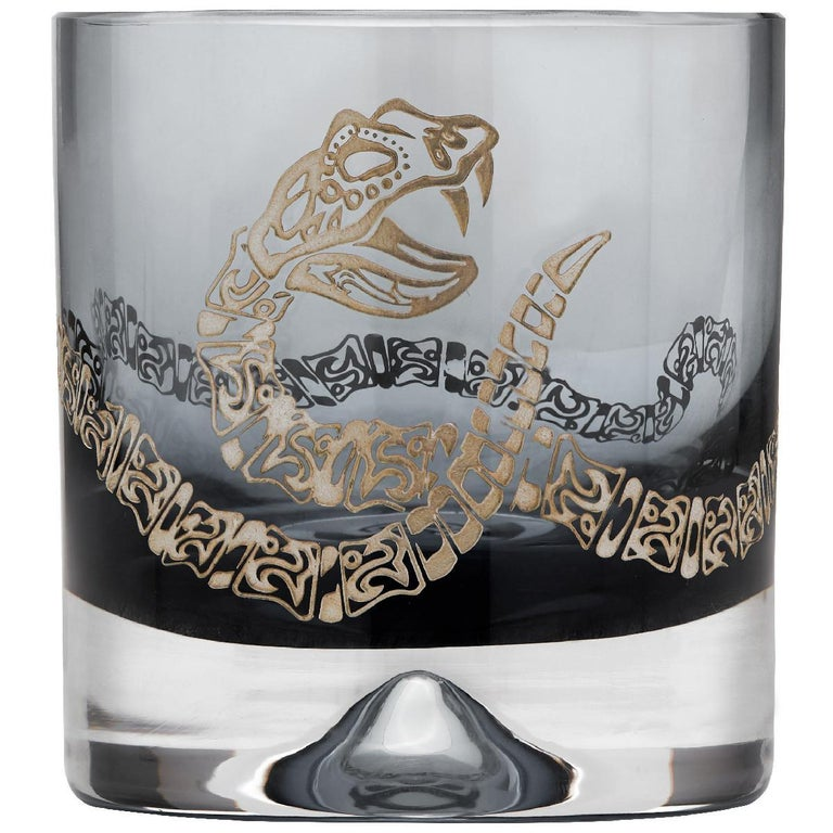 'Tequila Lore' is a set of bold and eye-catching bar accessories that celebrates Mexico's culture, folklore and famous tipple—tequila.  Lead crystal shot glasses and tumblers in either smoke or amethyst-coloured glass, handmade in the UK, also