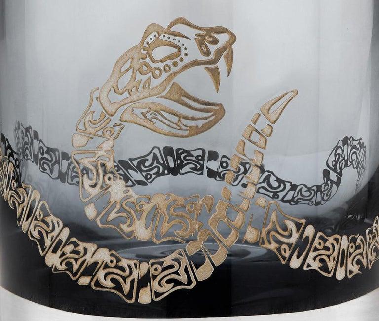 British Stephen Webster Tequila Lore Rattlesnake Engraved Detail Smoke Single Tumbler For Sale