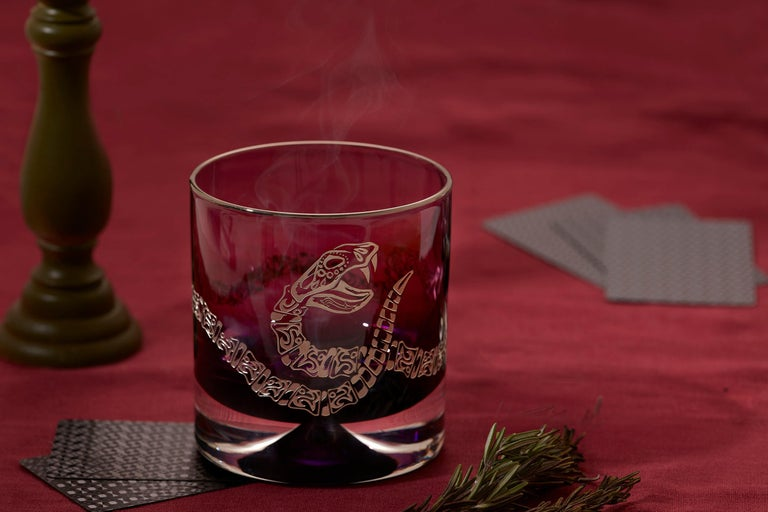 Etched Stephen Webster Tequila Lore Rattlesnake Engraved Detail Smoke Single Tumbler For Sale