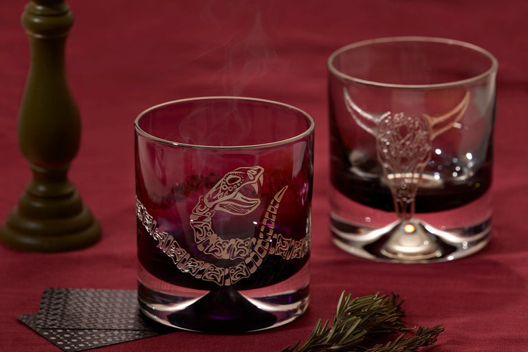 Stephen Webster Tequila Lore Rattlesnake Engraved Detail Smoke Single Tumbler In New Condition For Sale In London, GB