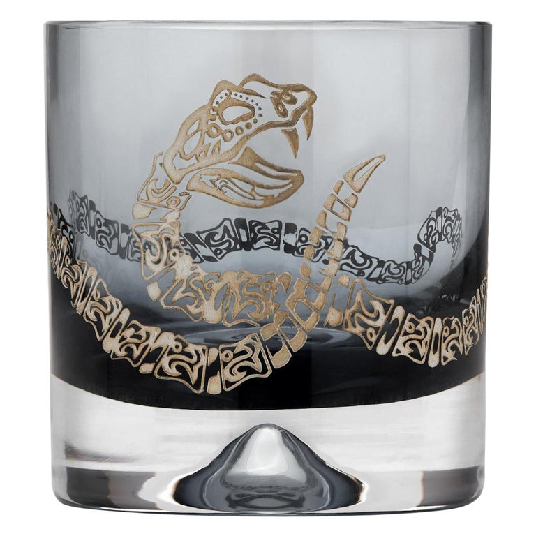 Stephen Webster Tequila Lore Rattlesnake Engraved Detail Smoke Single Tumbler For Sale