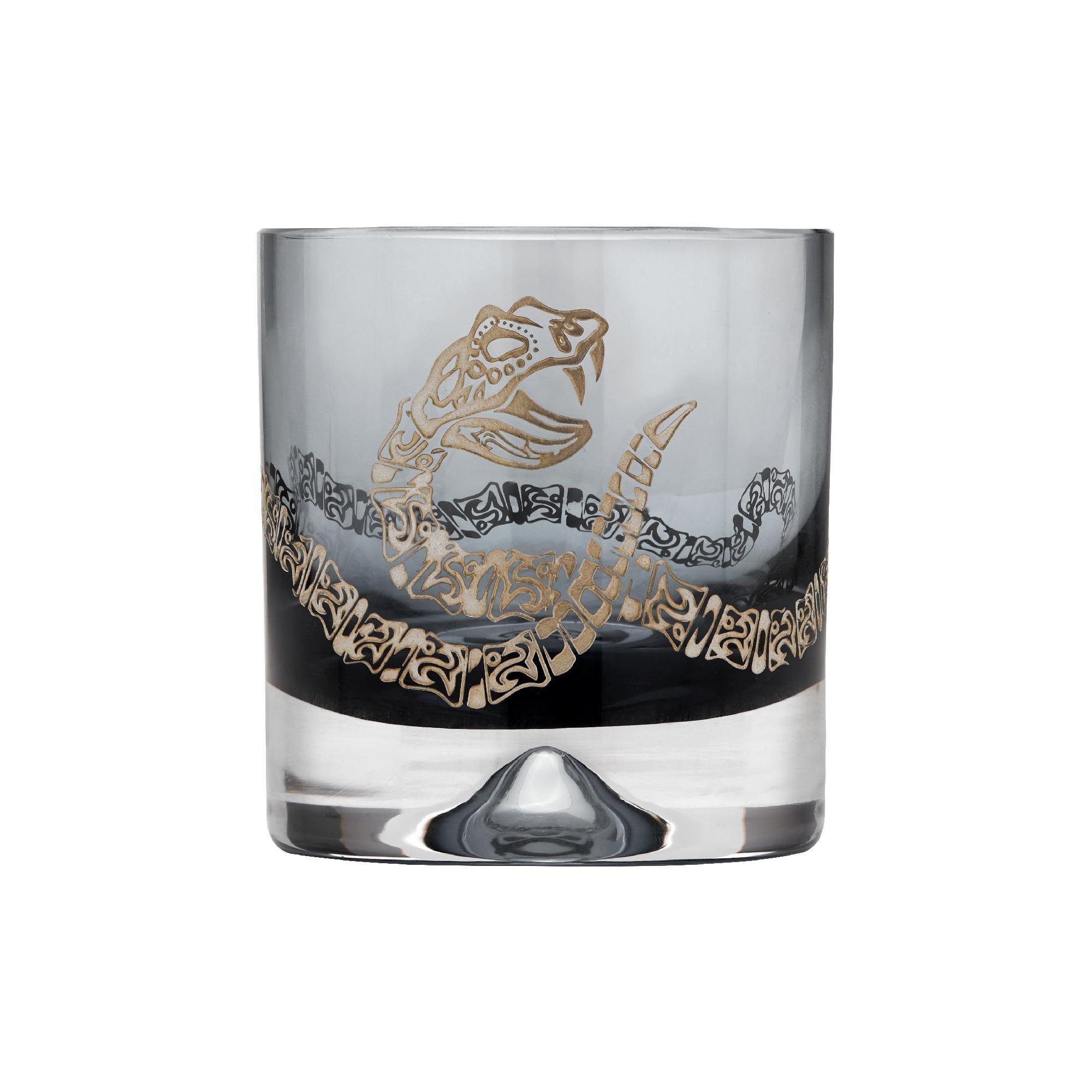 Stephen Webster Tequila Lore Rattlesnake Engraved Smoke Tumbler - Set of 2