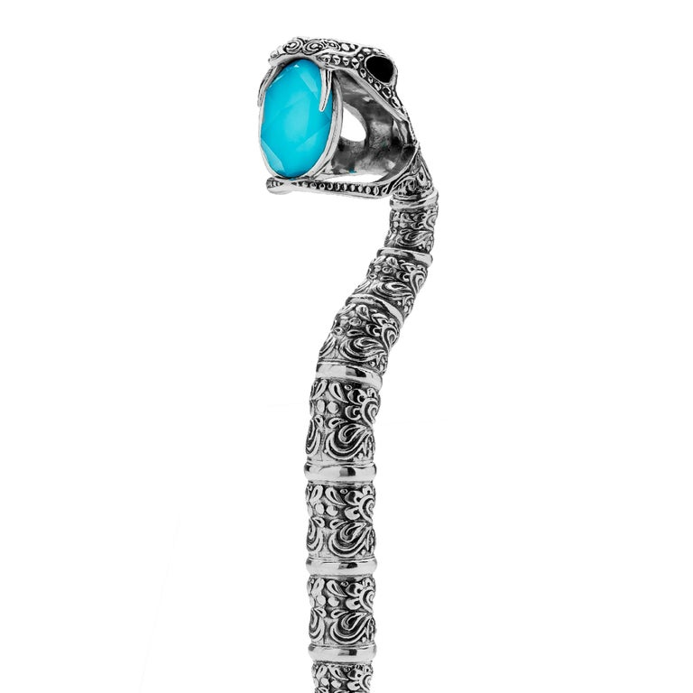 Contemporary Stephen Webster Tequila Lore Snake Silver Measurer with Turquoise Crystal Haze For Sale