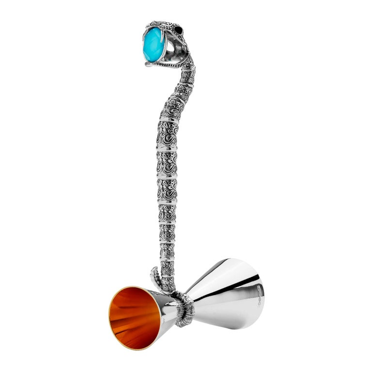 Stephen Webster Tequila Lore Snake Silver Measurer with Turquoise Crystal Haze For Sale