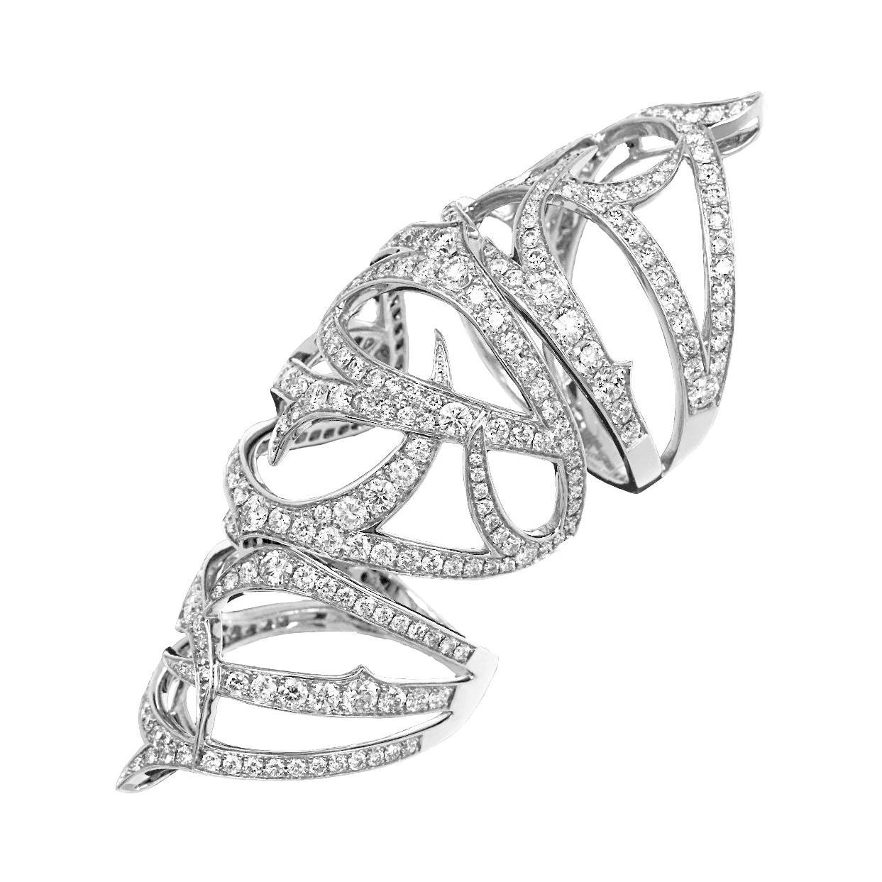 Stephen Webster Thorn 18 Carat Gold and White Diamond Pavé Long Finger Ring