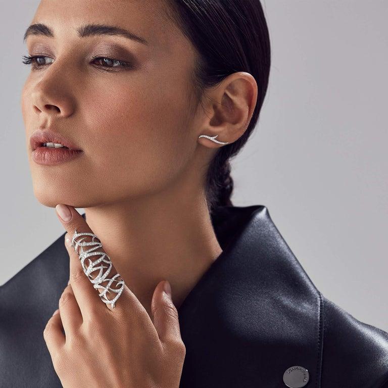 Round Cut Stephen Webster Thorn 18 Karat Gold and White Diamond Pavé Long Finger Ring