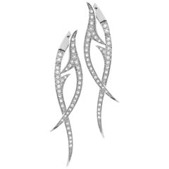 Stephen Webster Thorn 18 Karat White Gold and White Diamond Pavé Drop Earrings