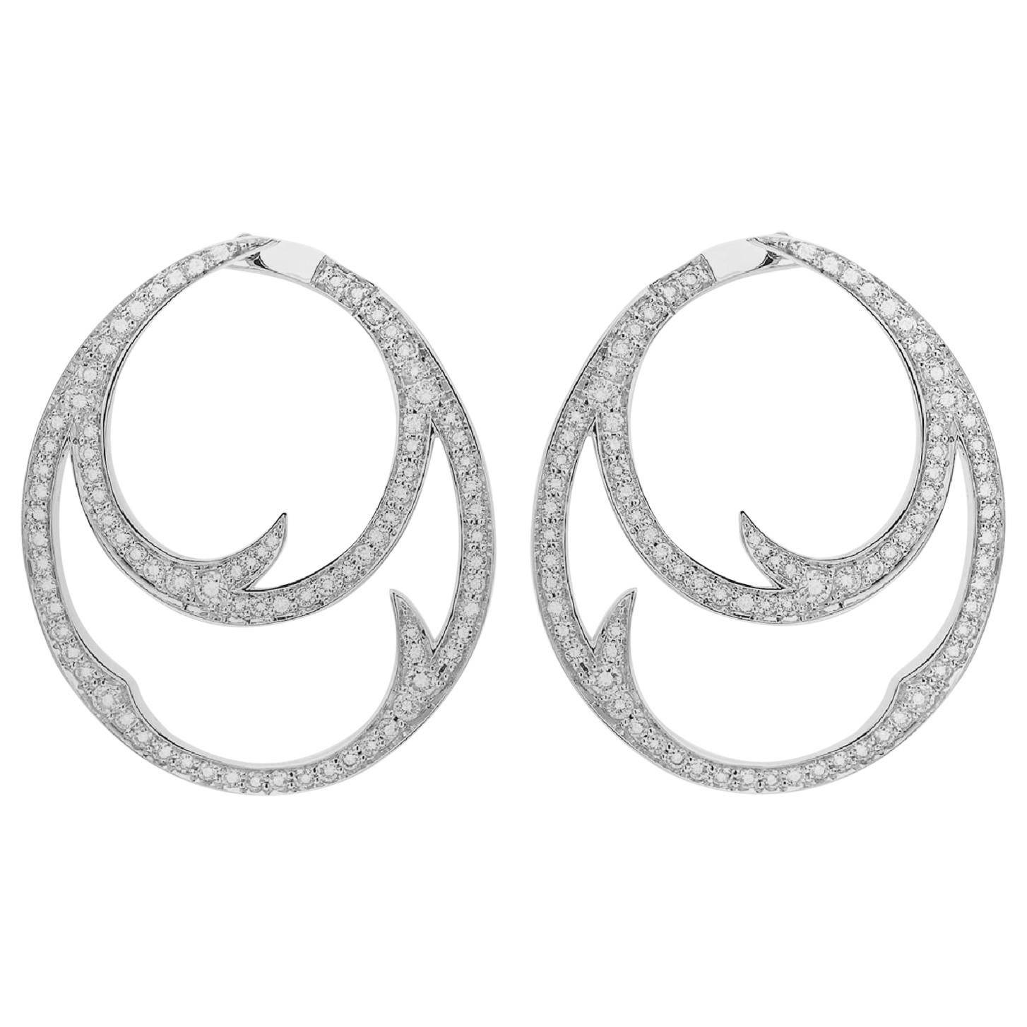 Stephen Webster Thorn 18 Carat White Gold and White Diamond Double Hoop Earrings